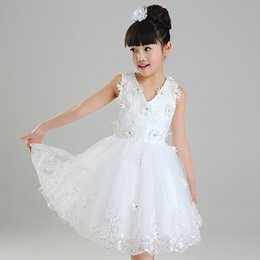 Images De Photos De Filles Mignonnes Pas Cher-Flower Girl Robes Vraie Photo Dentelle Applique Brithday Party Dress Pour Kid's Party Robes De Bal Applique Mignon Première Communion Sur Mesure BB06