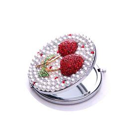 Tasty rouge cerise miroir de poche portable double double cadre en acier inoxydable cadre cosmétiques miroirs de maquillage D102601