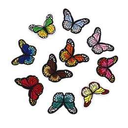 ironing clothes NZ - 10Pcs set Butterfly Patches For Clothing Jeans Iron On Embroidered Patches Appliques Patches For Kids Clothes Decoration