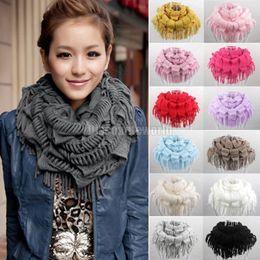 $enCountryForm.capitalKeyWord Canada - 2015 Hot Selling Fashion New Women Winter Warm Knit Fringe Tassel Neck Wraps Circle Snood Scarf Shawl 13 Colors