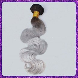Discount shades hair color Europe And The United States Silver Ombre Hair Extensions Human Hair Shade Of Grey Body Wave A Substituting Silver Human