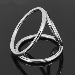 Discount male sex rings - Penis Ring Stainless Steel Metal 3-loops Chastity Lock,penis Clamp Cock Ring Cock Clamp Adult Game Sex Toys for Male A29