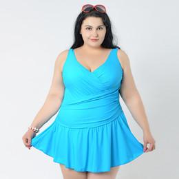 a0b15887f90 Wholesale- Plus Size Swimwear Women Big Skirt Large Size One Piece Swimsuit  Female fat One-piece Suit Solid Super Bathing Suit 4XL 6XL