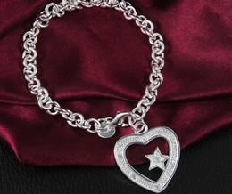 $enCountryForm.capitalKeyWord NZ - Lady girl vogue Jewlery 925 sterling silver plating Charm pendant zircon heart blossom bracelets Shrimp buckle bracelet 10pcs lot