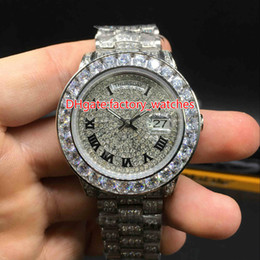rapper cases 2019 - Luxury Mens Brand Watch Big diamonds bezel big size 40mm wrist watch hip hop rappers full iced out silver case automatic