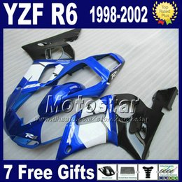 $enCountryForm.capitalKeyWord NZ - Bodywork for YAMAHA YZF600 98-02 white blue black fairing kit YZFR6 YZF-R6 1998 1999 2000 2001 2002 fairings set YZF600 VB88