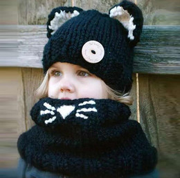 Discount crochet hats for infants Fox Headgear Knitting Wool Kids Beanies Baby Infant Crochet Girl Cap For Boy Warm Hat Child Winter Hat Baby Thick Access