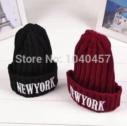 New york beaNie hats online shopping - New York Beanie hat wool winter  knitted caps crochet a43fb9b7869