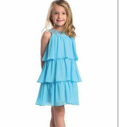 Toptan satış 2015 Diz Boyu A-Line Pretty Prenses kızın Pageant Elbiseler Şifon Boncuk Katlı Kısa Çiçek kızın Elbise
