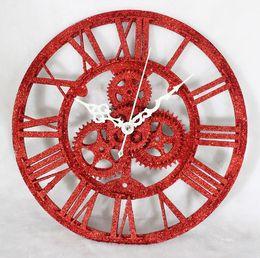 Antique Tables Canada - Vintage modern fashion gear clock fashion clock table powder antique wall clock