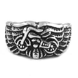 Stainless Steel Motors Canada - Free shipping! Eagle Wings Motorcycles Biker Ring Stainless Steel Jewelry Fashion Gothic Motor Biker Men Ring SWR0261H