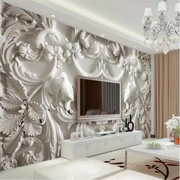 Mordern Peinture Pour Salon Fond Photographie HD Fleurs En Relief 3D Effets  Visuels Hôtel Badroom Mur Papier Peint Murale