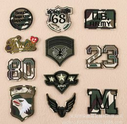 Barato Fontes Do Remendo Do Bordado-11 pcs / lot AIRBORNE US ARMY LHK Cartoon Badges DIY Bordado Patch Applique Roupas Vestuário Suprimentos de costura Castigos decorativos LY