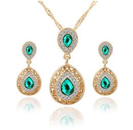 Red Cz Earrings Canada - Hot Women's Fashion 18k Gold CZ Diamond Necklace+Earrings Wedding Jewelry Sets
