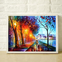 $enCountryForm.capitalKeyWord Canada - Romantic street lamp pure hand painted oil modern home simple decoration style canvas painting high quality color palette painting JL001