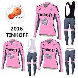 Saxo Tinkoff Cycling Clothing UK - Tinkoff Saxo Bank 2016 Spring Autumn Long Sleeve Cycling Jerseys Sets Bicycle Wear Women + Bib Pants Cycling Clothing MTB Bike Clothes