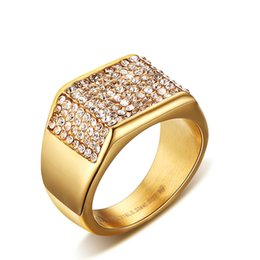 Chinese  Wholesale Price Mens Cluster Fashion Rings EURO-US AAA Cubic Zirconia Diamond Ring Titanium Stainless Steel Gold Filled Mens Gold Rings manufacturers