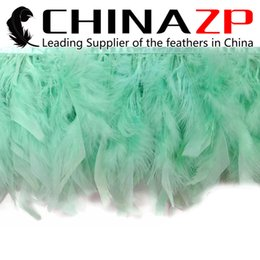 Wholesale Blue Feather Trim NZ - Gold Manufacturer CHINAZP Crafts Factory 10yards lot 10~15cm(4~6inch) in Width Top Quality Dyed Tiffany Blue Turkey Chandelle Feather Trim