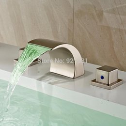 New Brand Nickel Brushed LED 3 Color Changing Luxury Bathroom Basin  Waterfall Spout Faucet Deck Mounted Dual Handles 1001#01