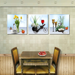 $enCountryForm.capitalKeyWord NZ - 3 Pieces Modern Painting Art Picture Paint on Canvas Prints red wine butterfly Apple woods leaf tree Sunflower rose Red flower tulips yellow