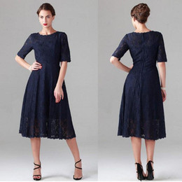 $enCountryForm.capitalKeyWord Canada - Vintage Dark Navy Tea Length Dresses with Sleeves A Line Lace Mother of the Bride Dress Custom Made Modest Wedding Party Gowns