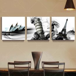 large canvas prints black white NZ - 3 Panel Abstract Bulding City Painting Cuadros Decoracion Town Paintings Black And White Canvas Paintings Unframe Large Wall Art