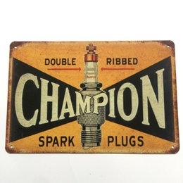 $enCountryForm.capitalKeyWord NZ - Champion Spark Plugs Double Ribbed Retro Vintage Metal Tin sign poster for Man Cave Garage shabby chic wall sticker Cafe Bar home decor