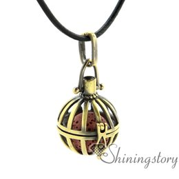 jewelry red birds UK - bird cage openwork essential oil diffuser necklace diffuser pendant wholesale diffuser jewelry locket pendant necklace lava volcanic stone