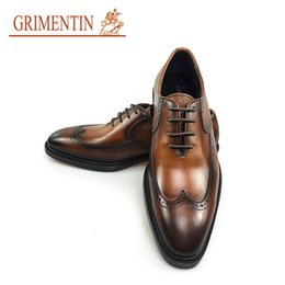Comfortable Wedding Dress Shoes Canada - GRIMENTIN men shoes Italian handmade mens dress shoes genuine leather comfortable high quality wedding men shoes 2018 size:38-44 2JM1