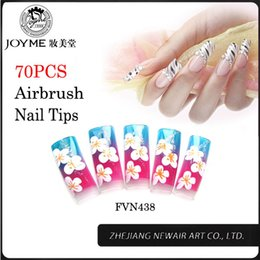 Clavos De Aerógrafo Al Por Mayor Baratos-Wholesale-70Pcs Fake Nails Colordul Flores Francés Airbrush Nail Art puntas 11Size alta calidad profesional clavo falso