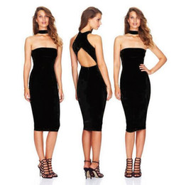 Barato Pescoço Pescoço Sexy-Nightclub Wear Sexy Tight Mini Cap Sleeve Vestidos Preto V-neck Dew Ombro Bare Breast Backless Halter Neck Dress Nightclub Wear