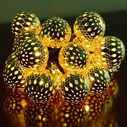 led solar powered morocco ball lights waterproof outdoor 12leds string lights best choice for christmas party and wedding decoration