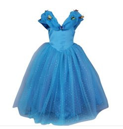 Papillon Bleu Tutu Pas Cher-Robes de mariage de Cendrillon Party Girl Robes Blue Princess robe pour les filles avec papillon vêtements pour enfants Costumes pour enfants