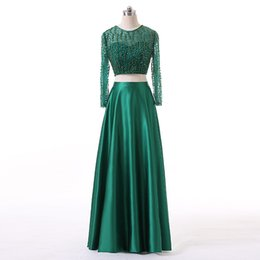 $enCountryForm.capitalKeyWord UK - Two Piece Ladies Fashion Dresses Beaded Bodice A-Line Style Emerald Green Satin Evening Dress Free Custom Made