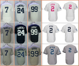 Barato Manto Azul-Nova Iorque 2 Derek Jeter 24 Gary Sanchez 7 Mickey Mantle 99 Aaron Judge grey blue white stripe cool base Jerseys