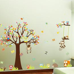 Wall Sticker Tree Xl Canada - Free Shipping Large XL size Jungle Animals Owls Tree Wall Sticker Squirrel Monkey Bird Vinyl Mural Decal Kids Room Decor