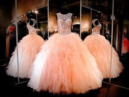 15 16 Robes De Quinceanera Pas Cher-2016 Magnifique Quinceanera boule Robes Sheer Jewel cou avec perles Backless Ruffles organza longueur de plancher de 15 Robes filles Pageant Party
