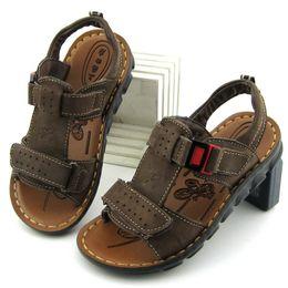 Kids Brown Sandals Canada - Warrior Brand 2014 summer boys girls full grain genuine leather sandals children shoes sandals kids sandalias boys footwear
