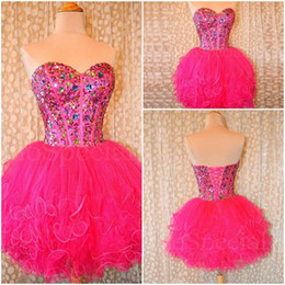 Barato Mini Tutu Vestidos De Baile-Fushia Homecoming Vestidos 2015 Sweetheart Beads Cristais Tiered Tutu Prom Dresses Custom Made Lace Up Dresses Party Evening Gowns para adolescentes