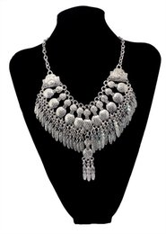 China Fashion Boho Gypsy Ethnic Necklace Vintage Silver Peanut Metal Leaves Pendant Jewelry Statement Necklace cheap gypsy vintage necklaces suppliers