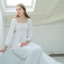 Barato Roupa De Dormir Algodão Branco-Atacado- Sweet Sleepwear Cotton White Long Nightgown Womens Dresses Princess Vintage Roupa interior Comfortable Sleeping Dress # L21