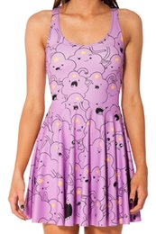 Princess Cartoon Sexy Pas Cher-Hot 2014 Nouveau Femmes Sexy Cartoon Adventure Time LUMPY SPACE PRINCESS REVERSIBLE SKATER ROBE Plissé Sundress FG1510