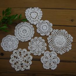 White Cotton Napkins Canada - 16 Piece -8 design-- Per design 2 PCS - 8-13cm Vintage Handmade Crochet Doilies White Coasters mats applique Cotton table mat Table Napkin