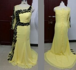Barato Vestidos De Noite Shiping Livre-2016 New Arrival Yellow Chiffon Evening Dresses One Long Sleeve Party Vestidos com Applique / Sequins Imagens reais Custom Made Free Shiping