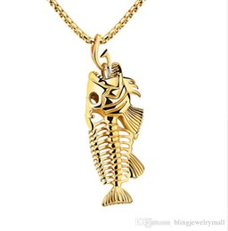 fish gold chain UK - Fish Bone & Fishing Hook Pendant Necklaces Punk Style Men 316L Steel Link Chain 3 Colors Personality Jewelry GX1073
