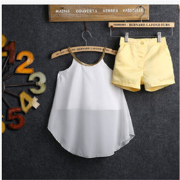 Cute Tops De Gasa Baratos-Al por mayor-Niñas Bebé Niños Halter White Sun Chiffon Tops Shirt + Hot Pants Shorts Summer Cute Lovely Outfits Sets Ropa
