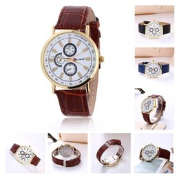Leather Belts For Wrist Watch Canada - 2016 Geneva fashion 3 eyes 6 pointer Wristwatches PU leather belt Watch Quartz metal shell Exquisite wrist For mens women Casual Watches