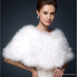 Barato Casacos De Peles De Avestruz-Luxor Avestruz Feather Bridal Shawl Fur Wraps Casamento Shrug Coat Noiva Winter Wedding Party Boleros Jacket Cloak