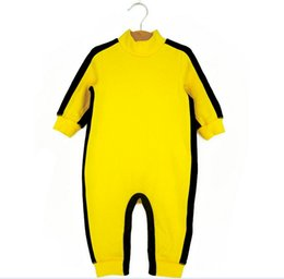 China Funny Dragon Baby Toddler Infants Bodysuits Bruce Lee Kongfu Rompers Boys One-Piece Long Sleeve Sport Climbing Clothing Yellow K4316 supplier climbing clothing suppliers