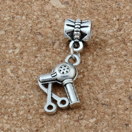 Charm braCelets sCissors online shopping - MIC Dangle Ancient silver Scissors Blow Dryer Hair Stylist Charm Big Hole Beads Fit European Charm Bracelet Jewelry x14mm